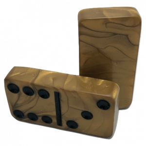 Marbleized Gold Double 6 Dominoes without Spinners