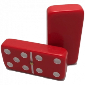 Red Double 6 Dominoes with Spinners