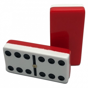 Plain Two-Tone Red/White Double 6 Dominoes with Spinners