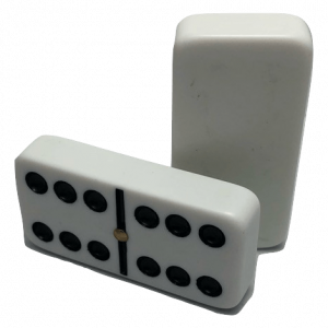 White Double 6 Dominoes with Spinners