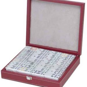 White Double 12 Dominoes Professional Sized in Leather case