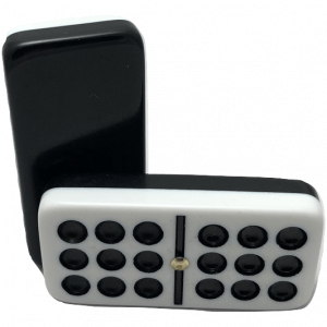 Two-Tone Black and White Double 9 Dominoes with Spinners