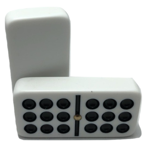 White Double 9 Dominoes with Spinners