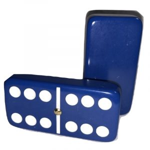 Dark Blue Double 6 Dominoes with Spinners