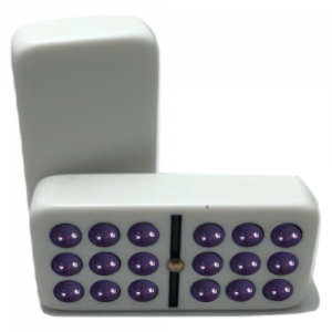White Double 9 Dominoes with Spinners and Multi-Colored Dots