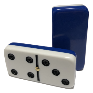 Plain Two-Tone Dark Blue/White Double 6 Dominoes with Spinners