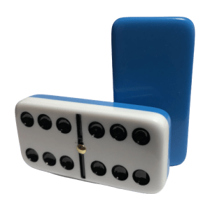 Two-Tone Light Blue/White Double 6 Dominoes