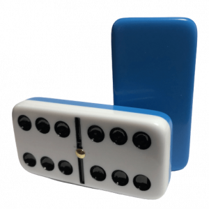 Two-Tone Light Blue/White Double 6 Dominoes with Spinners