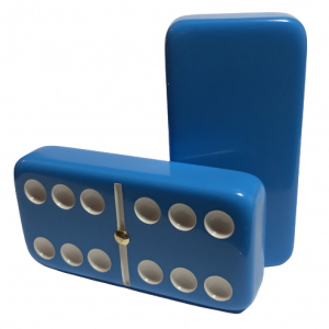 Light Blue Double 6 Dominoes with Spinners