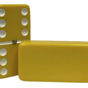 Yellow Double 6 Dominoes with Spinners and White dots
